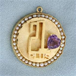 21 Plus Amethyst and Pearl Heart Pendant in 14K Yellow