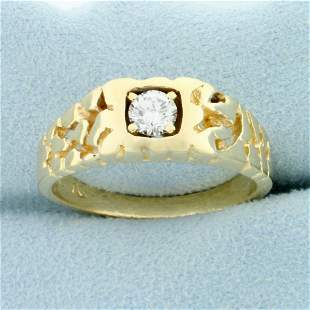 Men's .4ct Solitaire Diamond Ring in 14K Yellow Gold