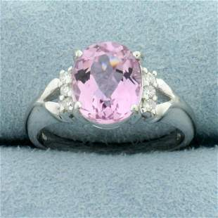 Pink Tourmaline and Diamond Ring in 18K Yellow Gold