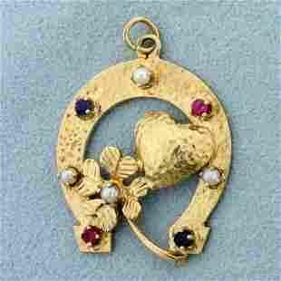 Horse Shoe 4 Leaf Clover Heart Pendant in 14K Yellow