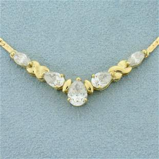 2ct TW Pear and Marquise CZ Necklace in 14K Yellow Gold