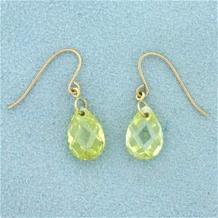 Yellow Crystal Teardrop Dangle Earrings in 10K Yellow