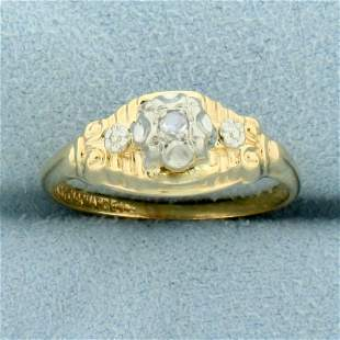 Rose Cut Diamond Solitaire Ring in 14k Yellow and White
