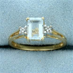 1ct Aquamarine Solitaire Ring in 10K Yellow Gold