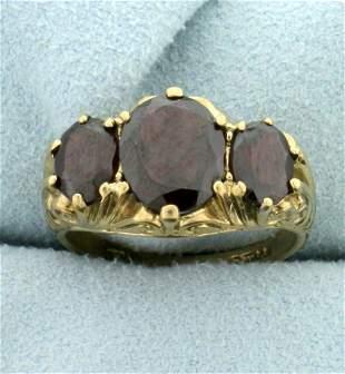 Vintage 4ct TW 3 Stone Garnet Ring in 9K Yellow Gold