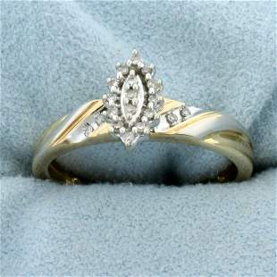 Vintage Two Tone Diamond Ring in 10K Yellow and White