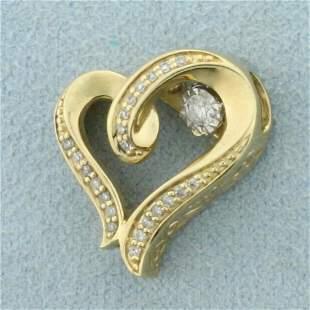 Rocking Diamond Heart Pendant in 10K Yellow Gold