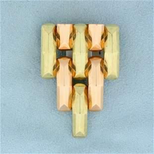 Vintage Art Deco Statement Pin in 14k Rose, White, &