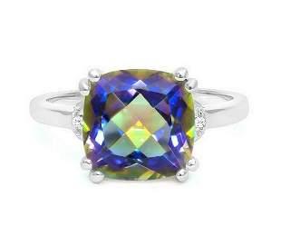 Huge 4.1CT Ocean Mystic Topaz & Diamond Ring in