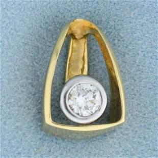 Unique 1/3ct Solitaire Diamond Pendant or Slide in 14K
