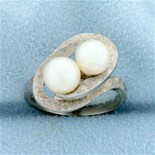 Vintage Double Cultured Pearl Ring in 10K White Gold