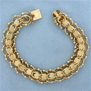Designer Heart Link Charm Bracelet in 14K Yellow Gold