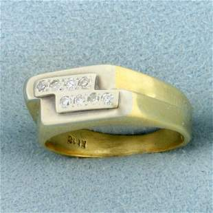 Vintage Two Row Diamond Ring in 18K Yellow and White