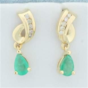 Natural Emerald and Diamond Dangle Earrings in 14K