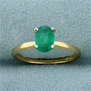 1/2ct Oval Emerald Solitaire Ring in 14K Yellow Gold
