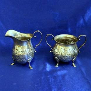 Antique B&M Hand Chased Creamer and Sugar Bowl in