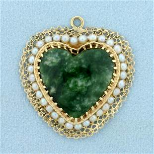 Vintage Jade and Pearl Heart Pendant in 14K Yellow Gold