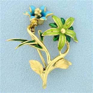 Vintage Enamel Flower Pin in 18K Yellow Gold
