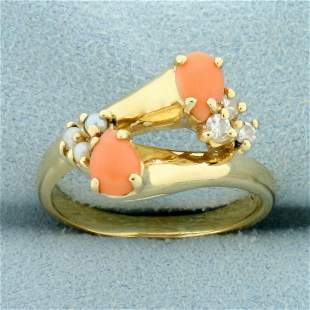 Pink Coral, Pearl and Diamond Ring in 14K Yellow Gold