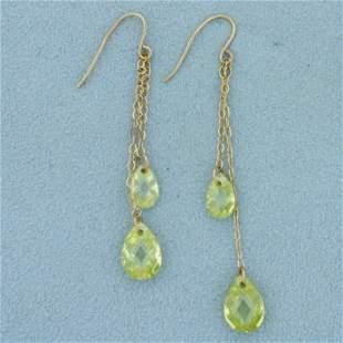 Yellow Crystal Dangle Earrings in 14k Yellow Gold