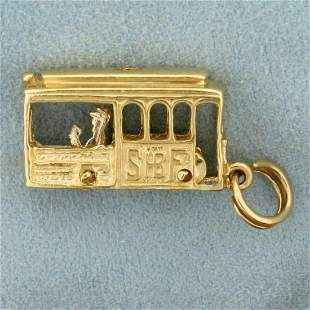 Mechanical Trolley Car Pendant in 14K Yellow Gold