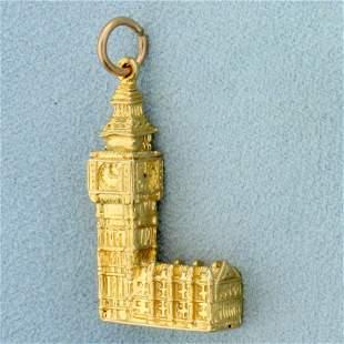 Big Ben Clock Pendant or Charm in 8K Yellow Gold