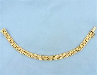 Italian Made Designer Panther Link Bracelet in 18K