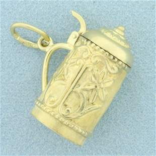 Mechanical Beer Stein Pendant in 14K Yellow Gold