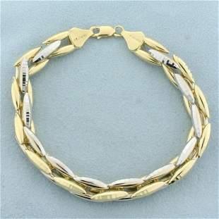 Two Tone Diamond Cut Geometric Link Bracelet in 14K