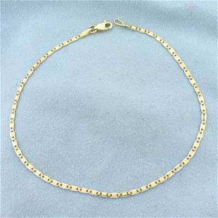 Italian Made 9 Inch Two Tone Anchor Link Anklet in 14K