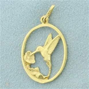 Gold Hummingbird Pendant in K Yellow Gold