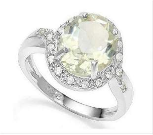 Huge 3.2CT Green Amethyst & White Sapphire Halo Ring in
