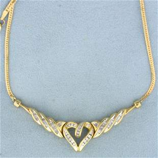 3/4ct TW Diamond Heart Necklace in 14K Yellow Gold