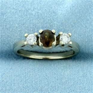 Three-Stone Fancy Chrysoberyl and Diamond Ring in 14K