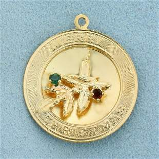 Merry Christmas Emerald and Ruby Pendant in 14K Yellow