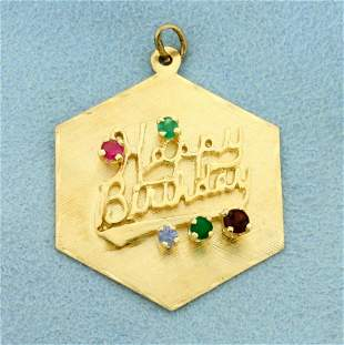 Happy Birthday Pendant with Ruby, Emerald, and Sapphire