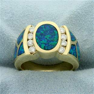 Opal and Diamond Ring in 14K Yellow Gold