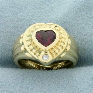 Diamond and Garnet Heart Ring in 14K Yellow Gold