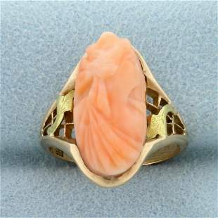Pink Coral Cameo Ring in 14k Yellow Gold