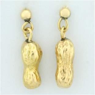 Peanut Dangle Earrings in 18K Yellow Gold