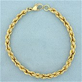 7 1/2 Inch Rope Style Chain Bracelet in 14K Yellow Gold