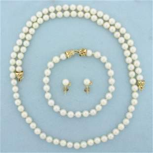 Cultured Pearl and Diamond Necklace, Bracelet and