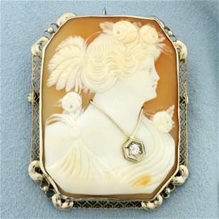Vintage Diamond Cameo Pendant or Pin in 14K White Gold
