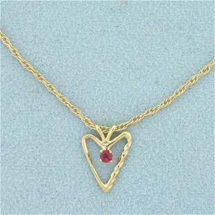 Ruby Heart Pendant on Chain Necklace in 14K Yellow Gold