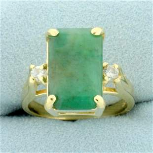 6ct TW Jade and Diamond Ring in 14K Yellow Gold