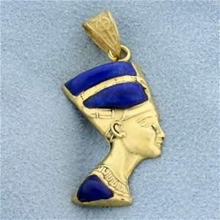 Queen Nefertiti Lapis Pendant in 18K Yellow Gold