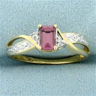 Morganite and Diamond Ring in 14K Yellow Gold