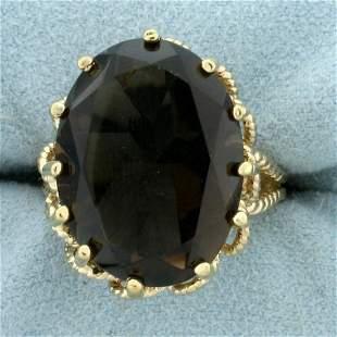 Vintage 17ct Smoky Topaz Statement Ring in 18K Gold