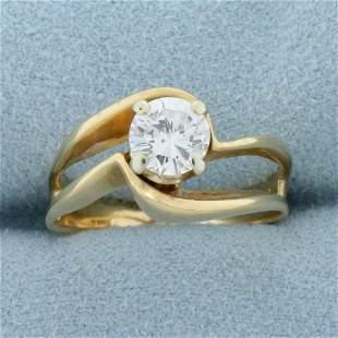 Unique Designer Diamond Solitaire .80 Ct Engagement