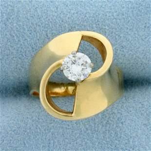 1/2 ct Solitaire Designer Diamond Ring in 14k Yellow